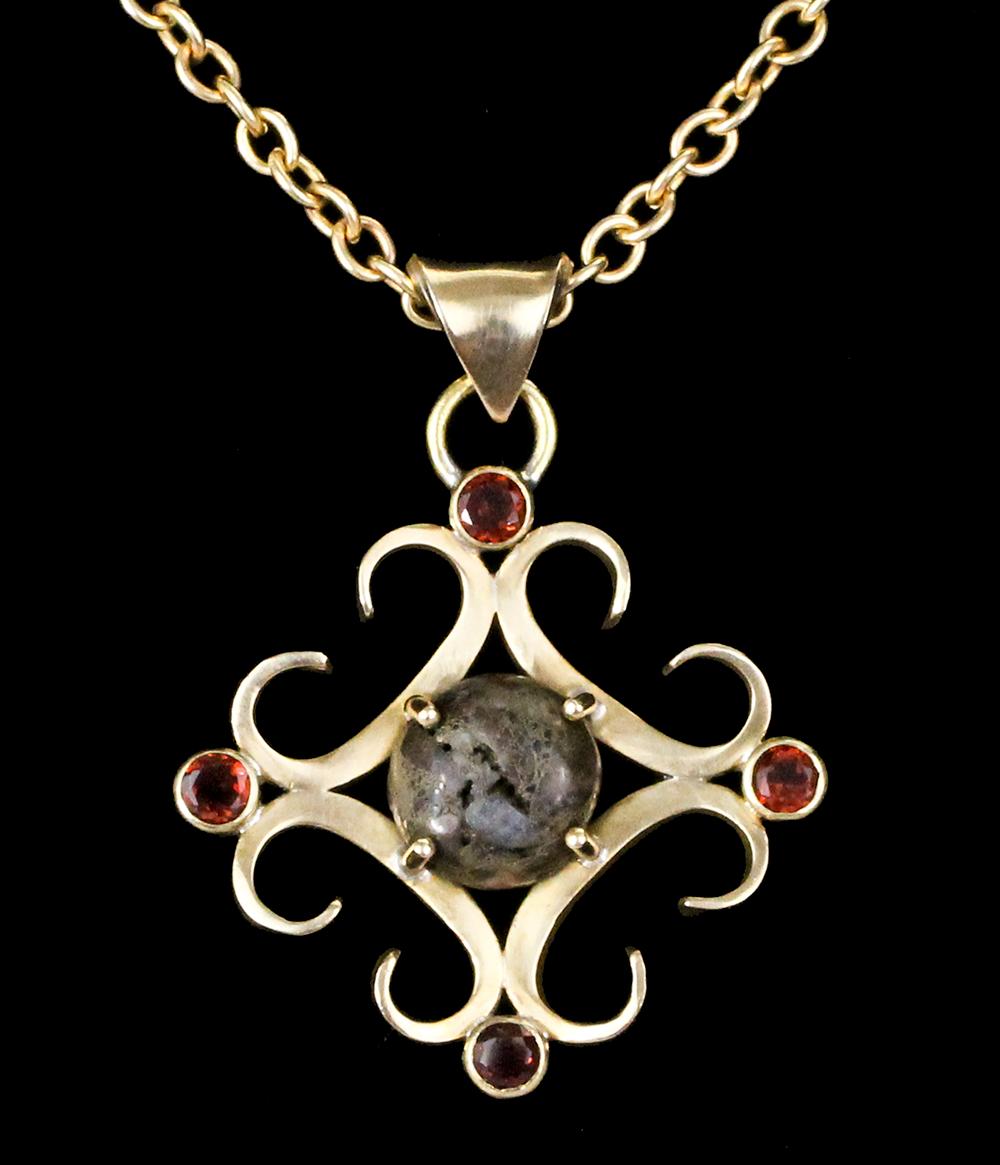 Brass and Asphalt Pendant