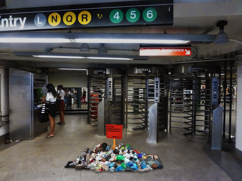 Subway entrances will be inconvenienced with the amount of trash the average person throws away in one week.
