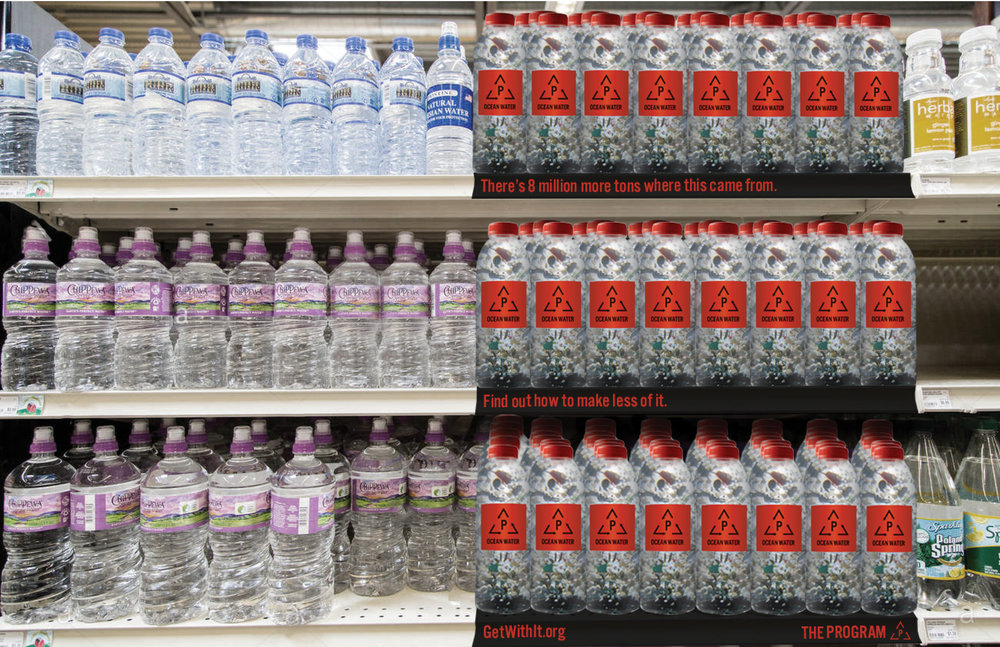 Polluted ocean water will be bottled and displayed supermarkets.