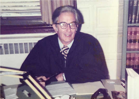 Edward J. Costello in his chambers at the Chittenden County Municipal Courthouse on South Winooski Avenue.