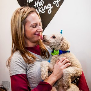 Volunteer Melissa and adopted pup Brinkley. Photo by  Stacey Axelrod