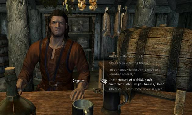 Screenshot of Skyrim showing the dialogue selection system. Image is on a blog post for Digital Worlds VR, a virtual reality arcade located in Franklin, Cool Springs in Tennessee.