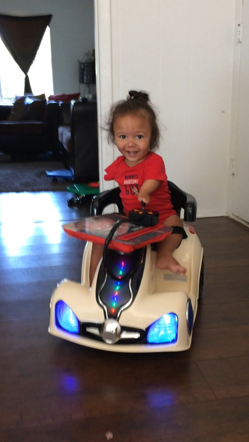 This cutie graduated from his car to getting a big boy power wheelchair!