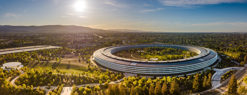 Apple HQ - Blue sky and sunlit trees. (offset)