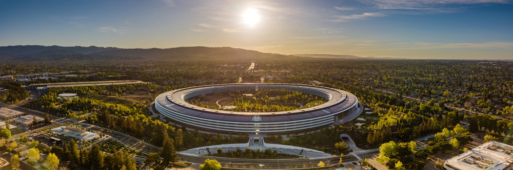 Apple HQ - Blue sky and sunlit trees. (centered)