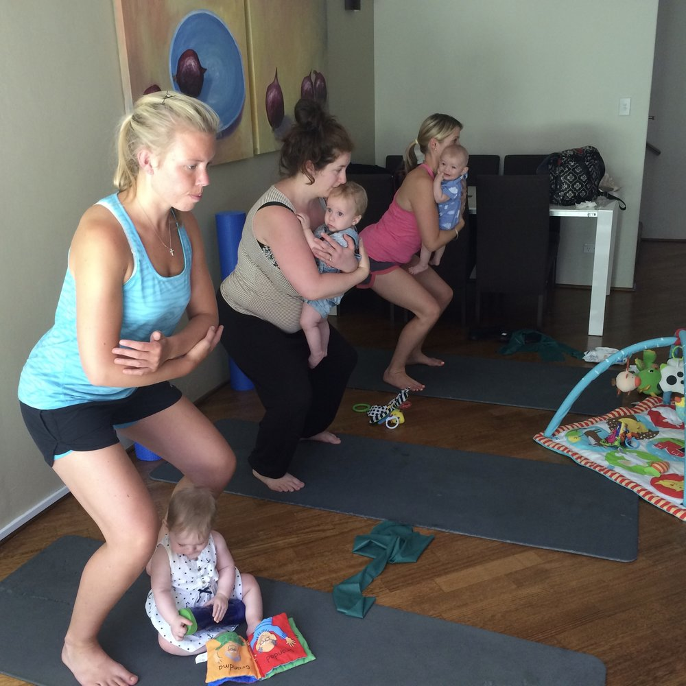 Mums & Bubs postnatal recovery Pilates class in a private home with babies fom 3-6 months old