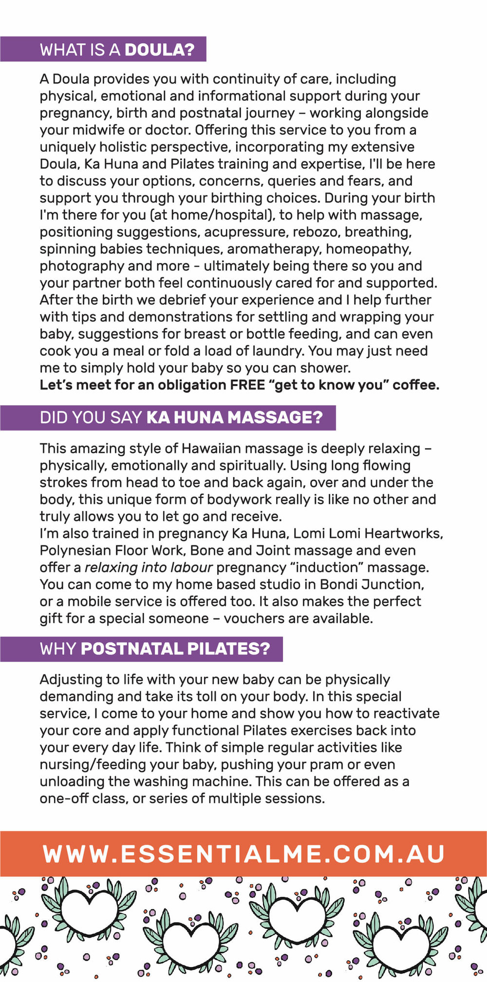 Doula Flyer Sydney ka huna massage kahuna water birth vbac birth journey, what is a doula? birth support