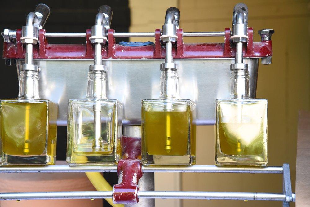 huile d'olive production en bouteille cubique