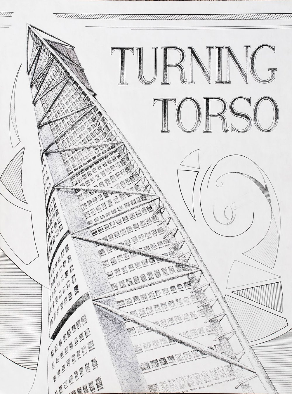 Illsutration of the Turning Torso. Pen and Ink.