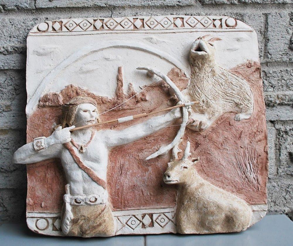Aboriginal Myth. Clay Relief.