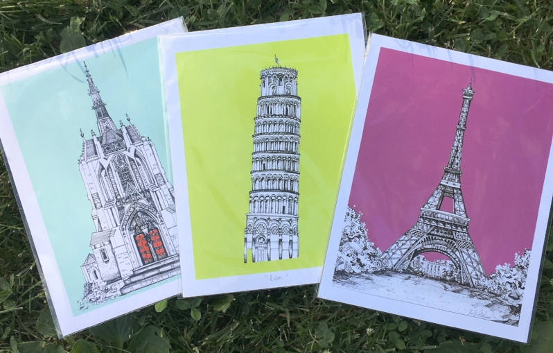 KLoRebel's amazing colored illustrations - Heinz Chapel, The Tower of Pisa, and the Effiel Tower.