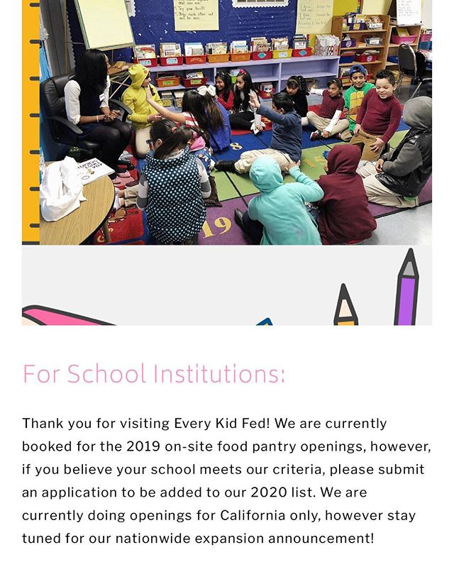 Hello hunger heroes! We've been working hard to get back to your emails, and want thank you for your kind words and support! Many of you would like to bring Every Kid Fed to your school, and we couldn't be happier. We have finalized our school pantry openings for 2019, but are currently taking applications for 2020 in California. Please visit everykidfed.org/applytopantrywaitlist to apply. 🌟