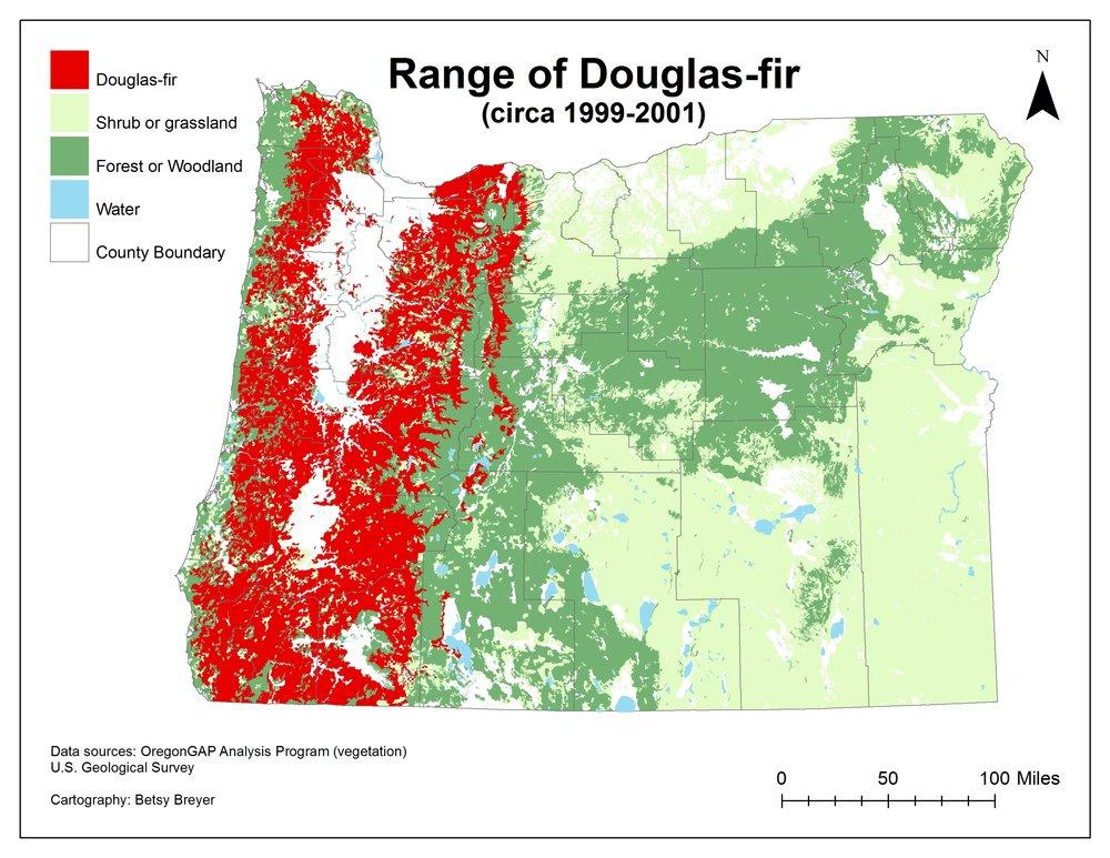 Oregon map of  Pseudotsuga menziesii   subsp. menziesii , Douglas-fir's native range.