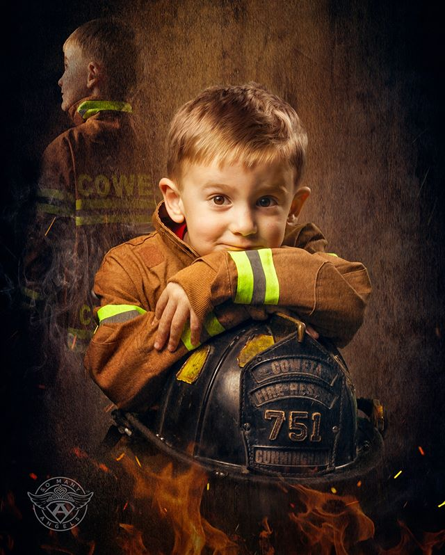 """Words from Russell's Mom... """"I stole the last name of the first firefighter that stole my heart, and the second firefighter to steal my heart calls me Momma. 💙💙 We picked up Russell's picture this morning that the organization So Many Angels took of him and LOVE how it turned out! Their mission is to photograph children battling cancer or other serious illnesses and transform them into whatever they want to be when they grow up - of course Russell wanted to be a firefighter like his daddy (he has John's old helmet in the picture with him). 💙 To look at Russell in this picture, you'd never know that just one year ago he battled {and BEAT the heck out of} Stage 3 kidney cancer! I know he's going to continue to show No Evidence of Disease and be anything he wants to be when he grows up! If you ever have the opportunity to help or be a part of this organization or the Rally Foundation, please do - they do so much to bring joy to our kids and make them feel normal!  Thank you again, Rally and So Many Angels, for this opportunity - y'all are amazing! It was a fun photoshoot for everyone, and something that Russell will always remember!"""" #somanyangels #superheroes #superhero #princess #cancer #cancersucks #kidswithcancer #sma #profoto #profotousa #dcuniverse #marveluniverse #comiccon #pittsburgh #pitt #superman #dc #marvel #cosplay #cosplayer #cosplayers #capturedpgh #pediatriccancer #morethan4 #morethanfour #jedi #fire #firefighter @millerslab @profotousa @profoto"""