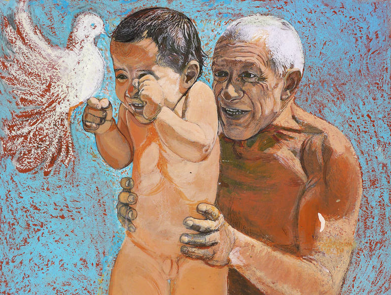 Picasso with Son Claude and a Dove