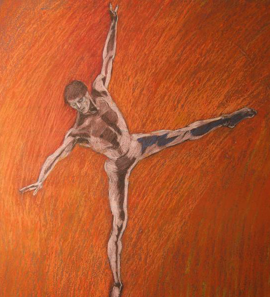 Nijinsky in Arabesque Orange Background