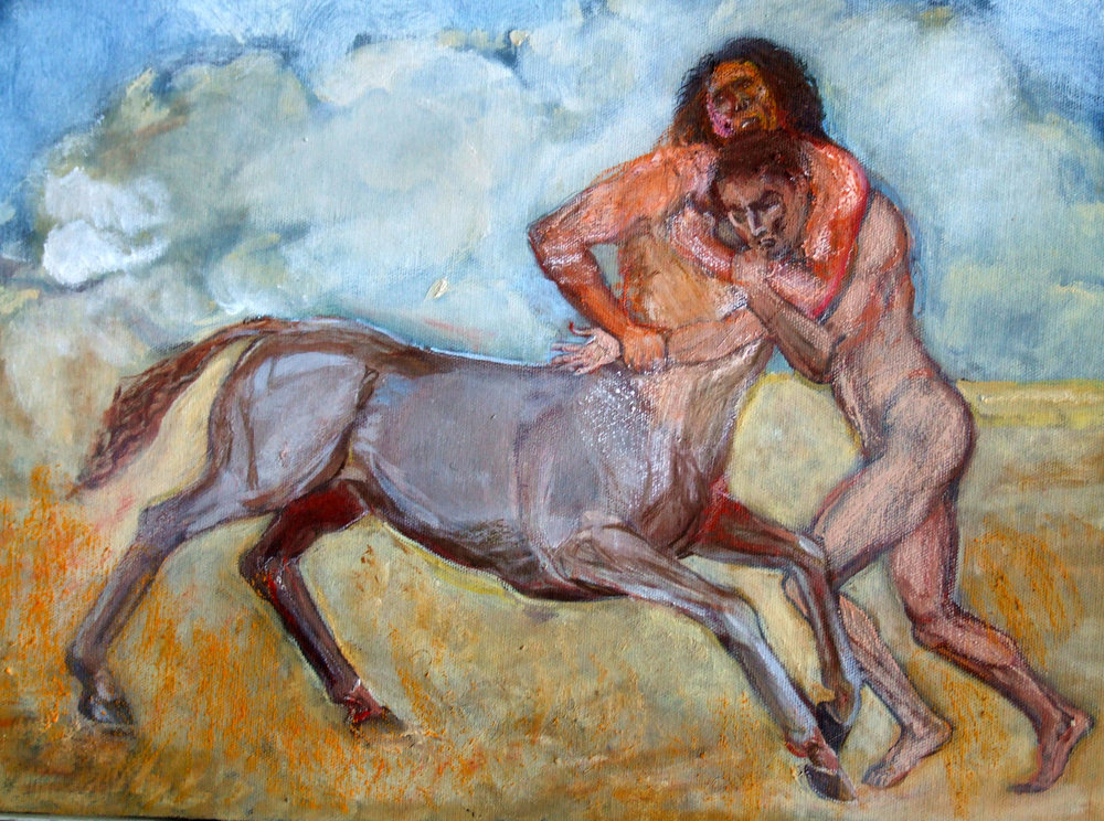 Man Fighting a Centaur