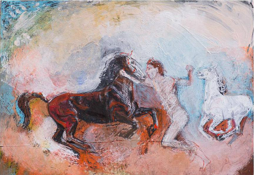 Man and Two Running Horses