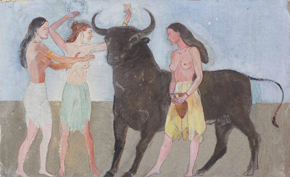 Three Greek Women Anointing a Bull