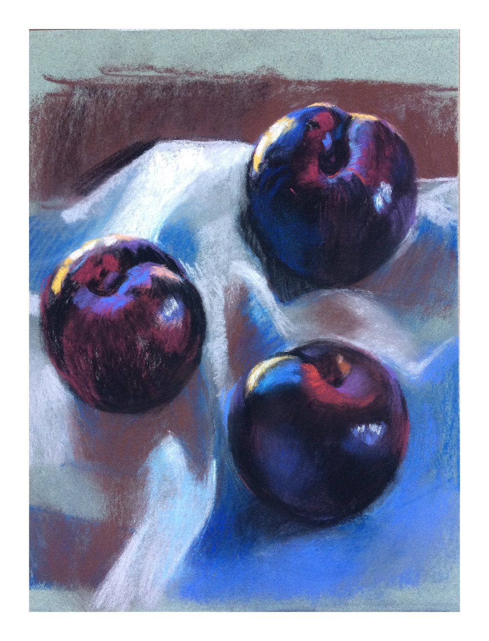 Still life of Plums  Pastel on Paper