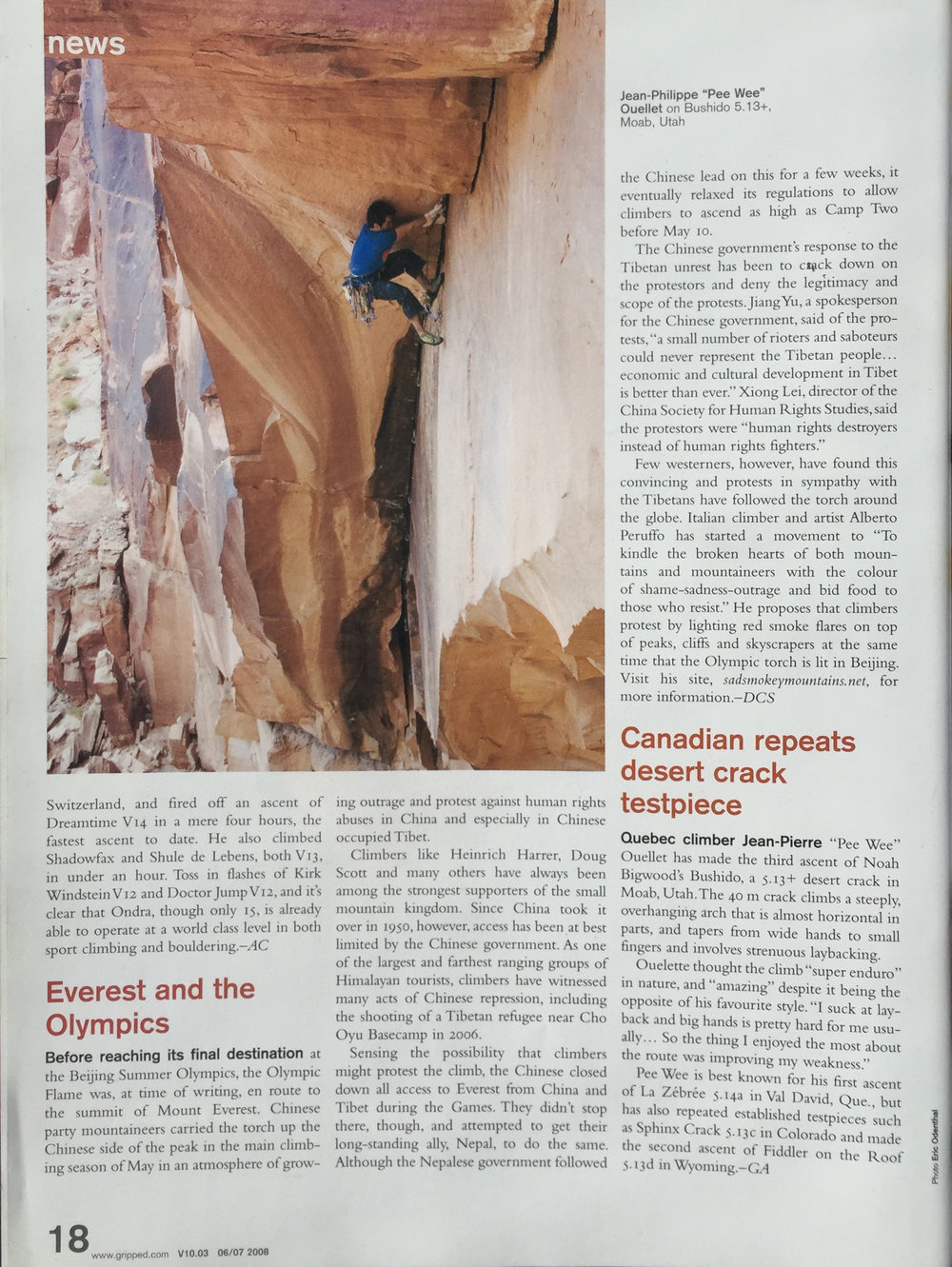 GRIPPED MAGAZINE  CLIMBER |JEAN-PIERRE OUELLET  PHOTO |ERIC ODENTHAL  ROUTE |BUSHIDO 5.13+ | MOAB | UT