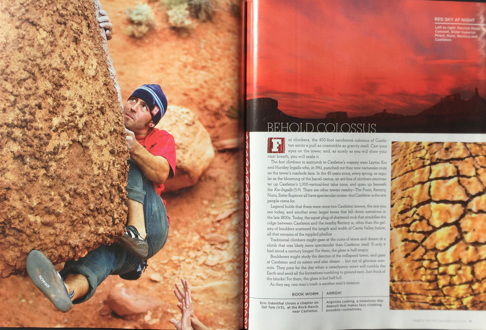 ROCK AND ICE MAGAZINE  CLIMBER: ERIC ODENTHAL  PHOTOGRAPHER; SCOTT WESTOVER