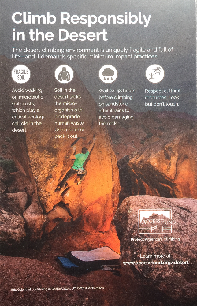 ACCESS FUND BROCHURE  CLIMBER | ERIC ODENTHAL  PHOTOGRAPHER | WHIT RICHARDSON  MOAB | UTAH