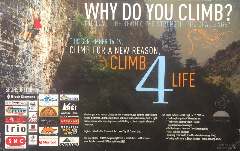 HERA CLIMB 4 LIFE EVENT POSTER  PHOTORAPHER: ERIC ODENTHAL  http://www.herafoundation.org