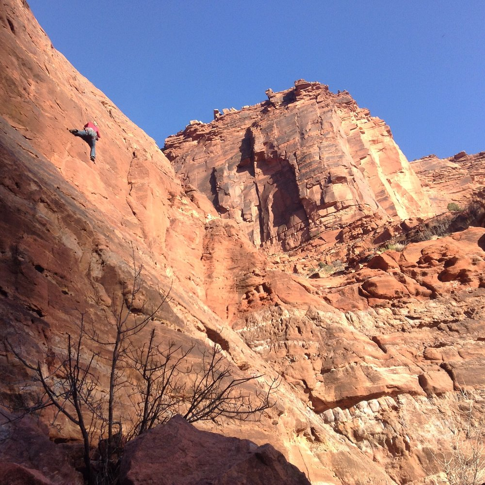 Sandstone Rock Climbing in Moab, Utah.