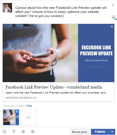New Facebook Link Preview update on Wonderland Media