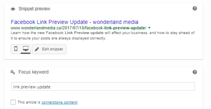 Screenshot of Metadata Fields on Yoast SEO for Wordpress on Wonderland Media