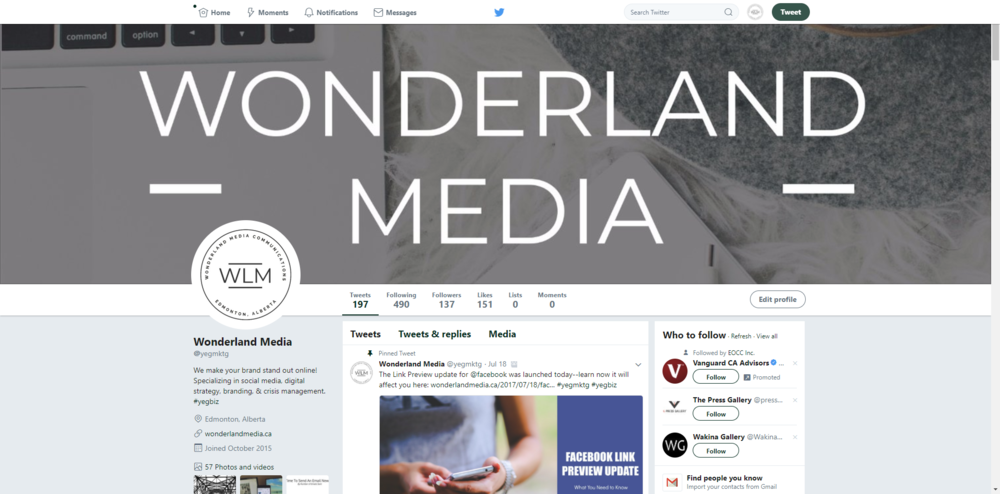 Wonderland Media Twitter Profile rebrand