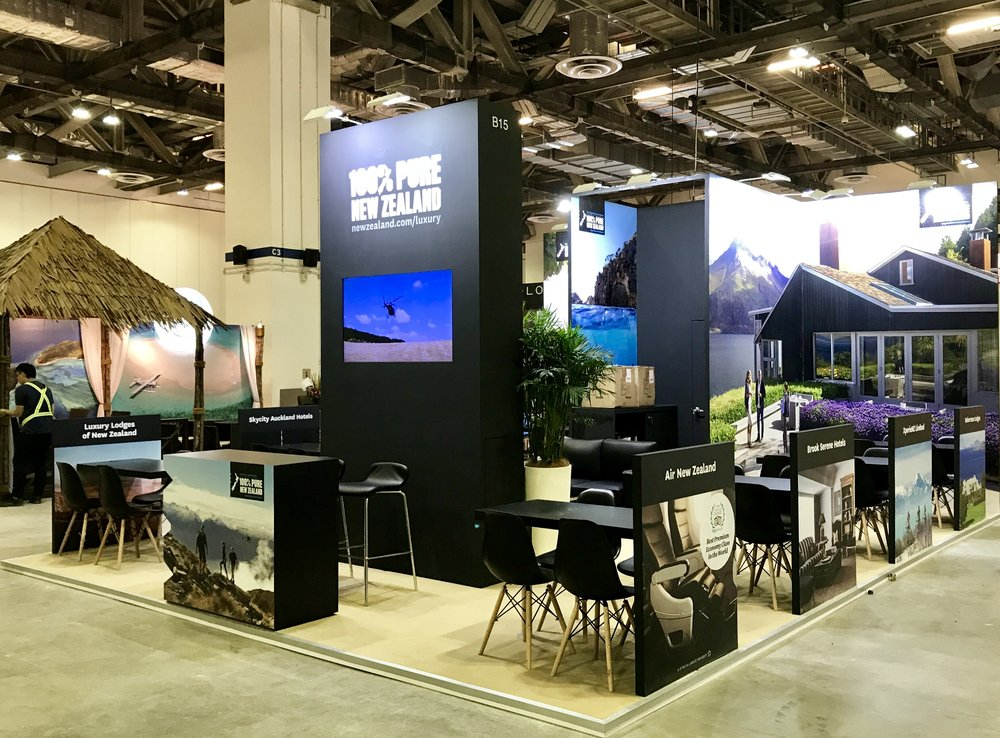 New Zealand stand featuring Robertson Lodges Matakauri Lodge.