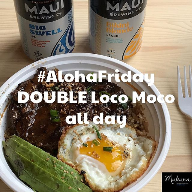 Happy #alohafriday To celebrate the start of the weekend, we are serving double beef loco moco just $11. The mainland's best loco moco at twice the size. . . . #lunchspecial #lunchspecial #deals #lunchdeals #locomoco #alohafriday #alohafriday🌺 #mainlandlocomoco #makanabbq