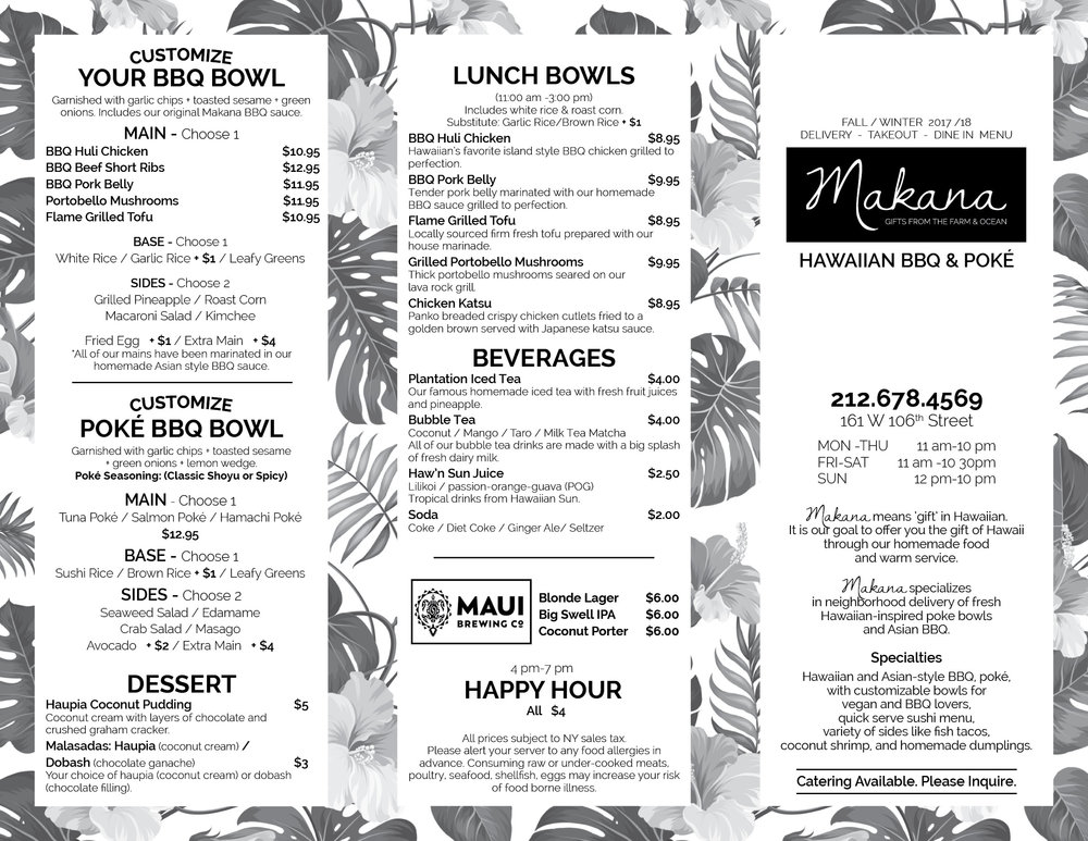 MAKANA BBQ & Poke Upper West Side - UWS TAKEOUT MENU