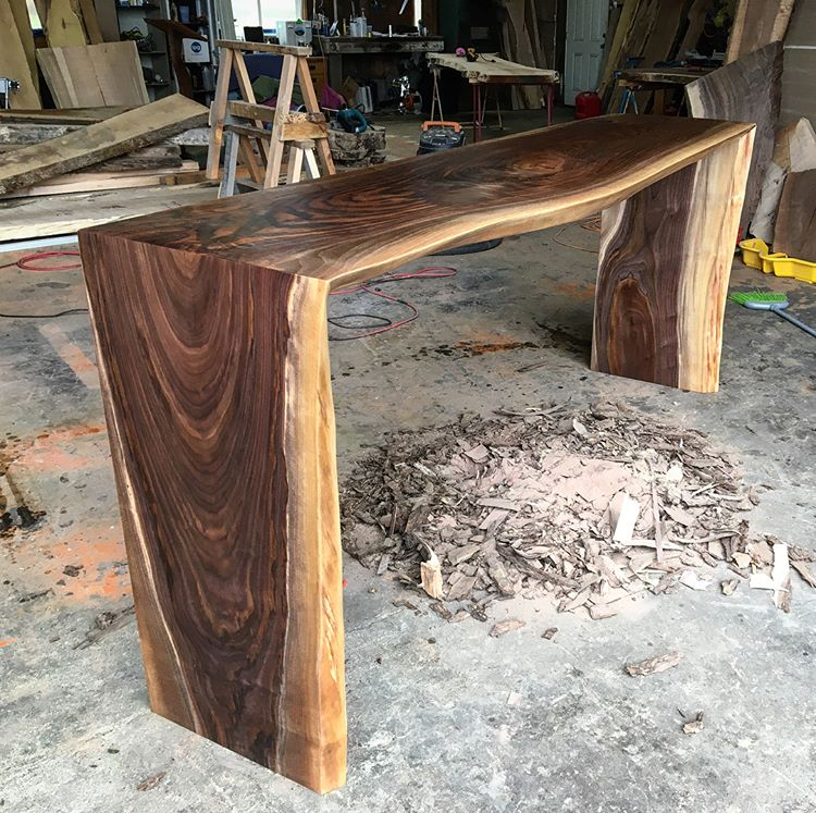 Black walnut double waterfall bartop