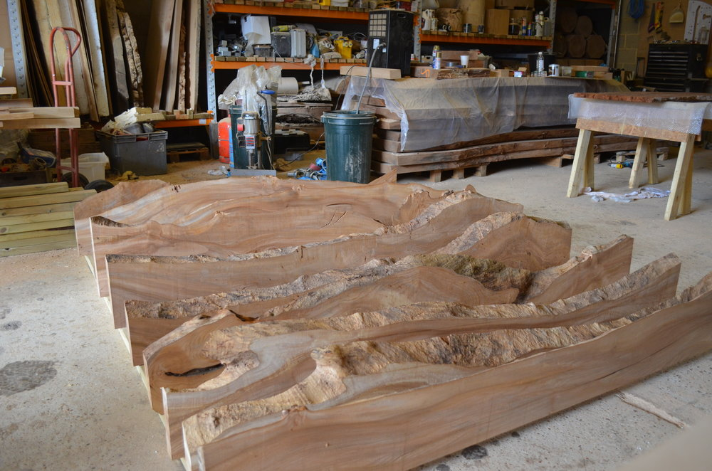Scottish elm provided suitably irregular live edges to produce the variation in the depth the client was seeking, enabling similar variation in the sizes of the light boxes
