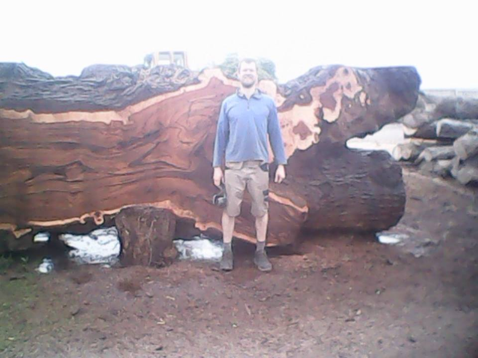 Our tree surgeon with the log, due to the width of the log it was necessary to mill one side flat before commencing cutting through the log generally to get the boards.