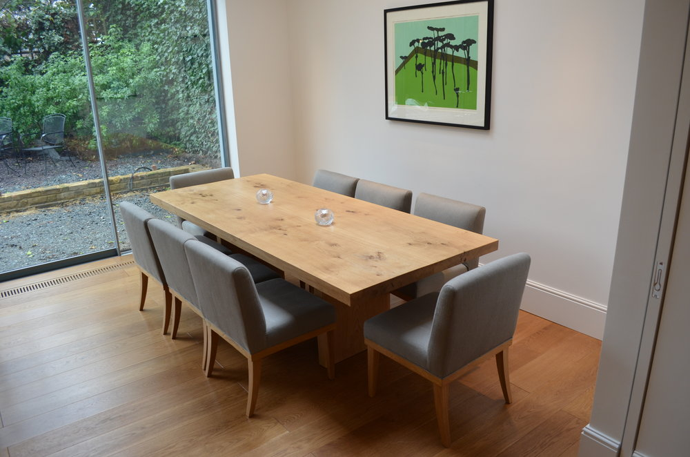Square edge bookmatched oak dining table