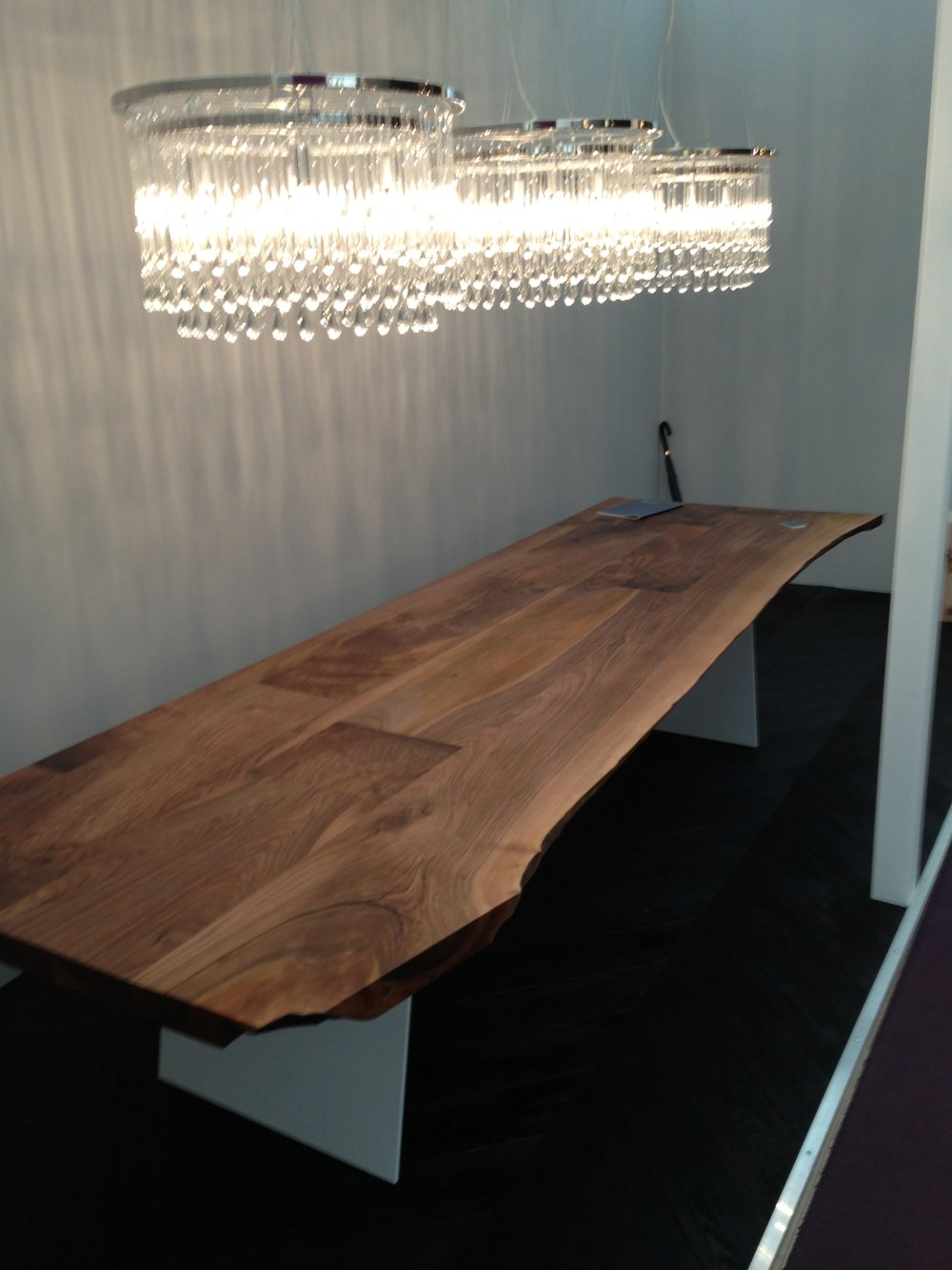 Exihibiting waney edge table at Decorex