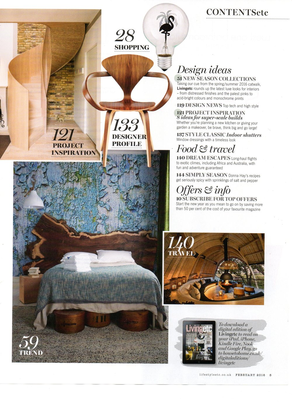 Living Etc Magazine index elm slab headboard