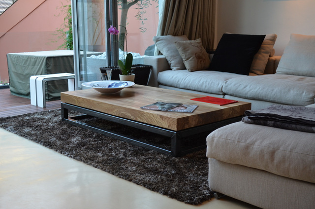 Single width slab elm coffee table