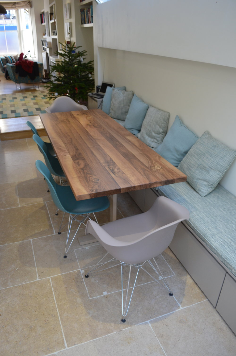 Walnut table banquette seating