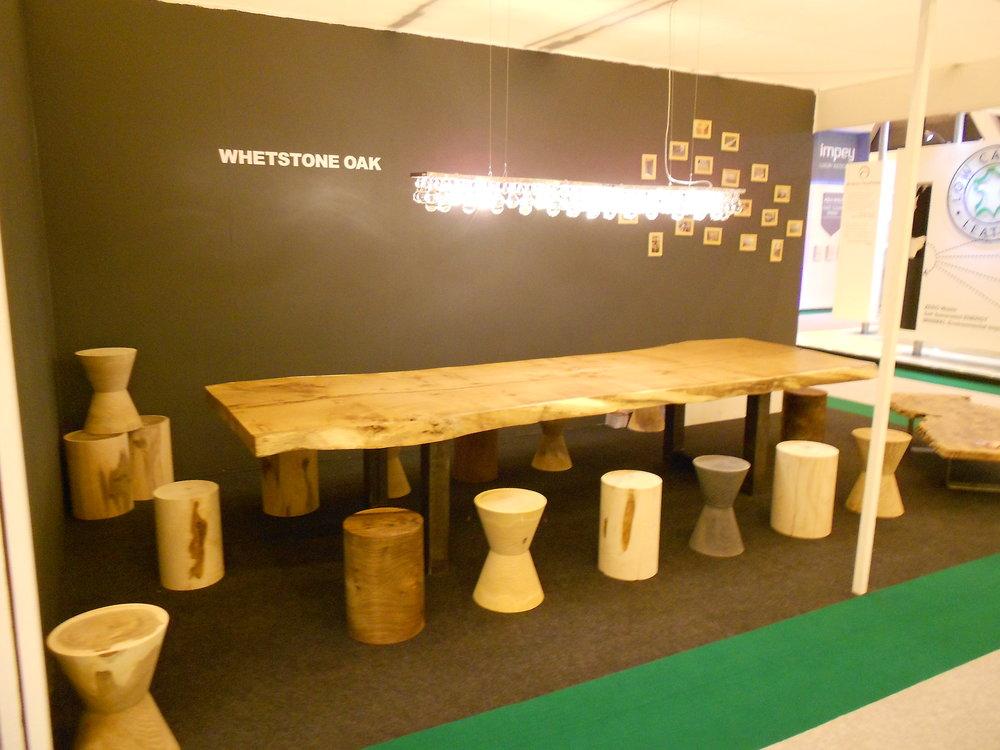 Single width oak table steel box legs