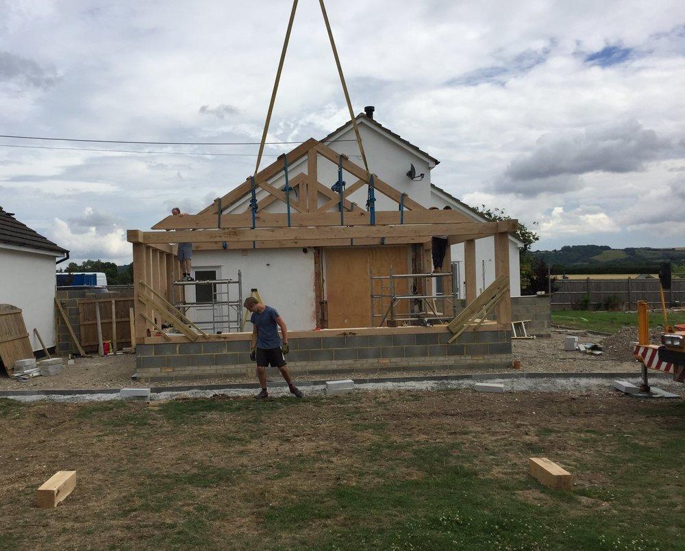 Erecting-Oak-frame-building