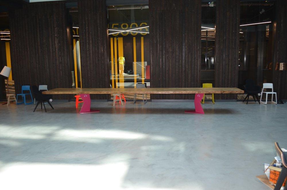 6.6m long bookmatche oak table