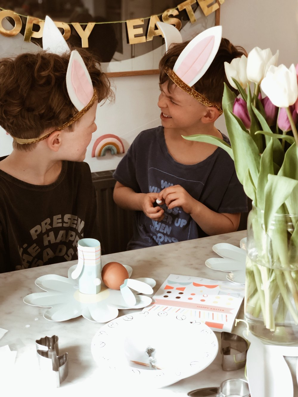 The boys in their Easter bunny ear sets from Meri Meri
