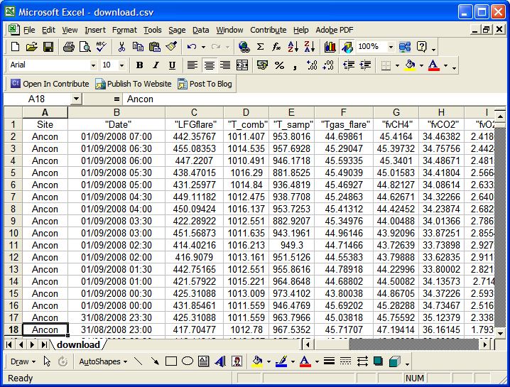 Logged data is stored in an SQL database ready for extraction into an Excel spreadsheet.