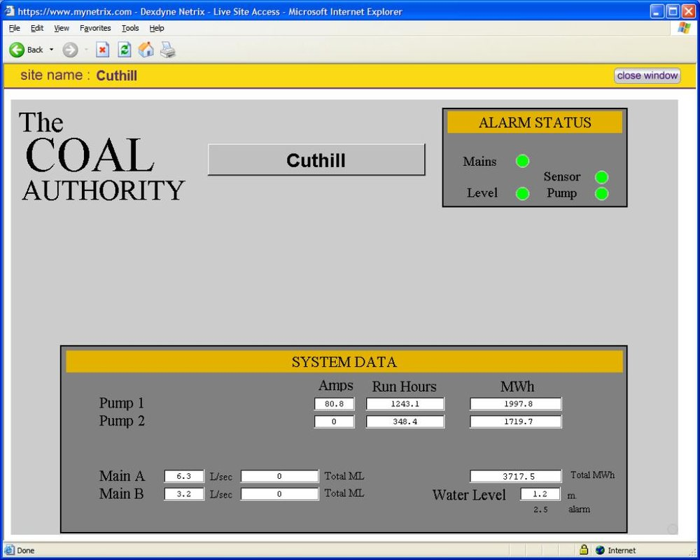 Web application designed for The Coal Authority giving real-time data and alarm details