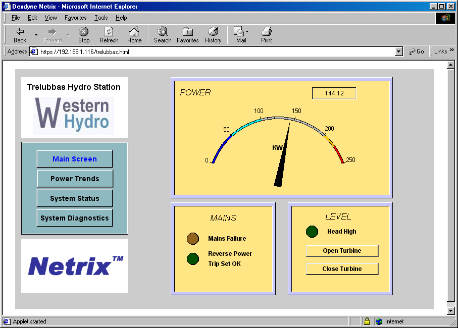 netrix    TM     system dashboard configured to show power output reading